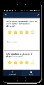 Tela do app de inspeção - nível de satisfação estrelas