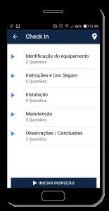 Tela do app de inspeção - selecionar seções do checklist