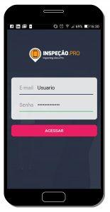 Tela do app de inspeção - tela de login