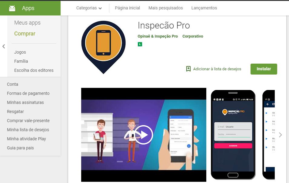 Inspeção Pro Google Play